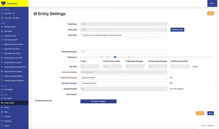Entity Settings Page