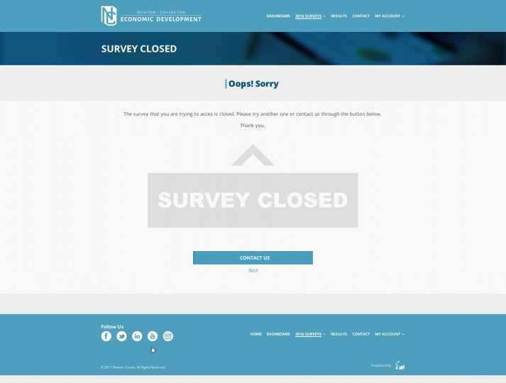 Survey close's page